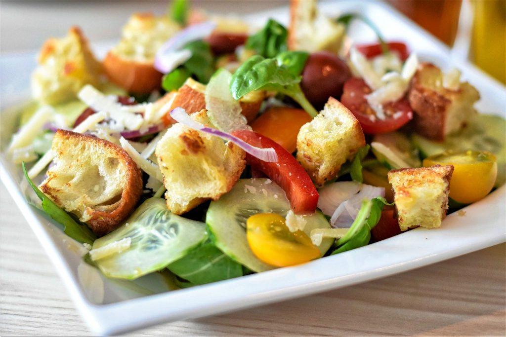 salad, bread salad, bread