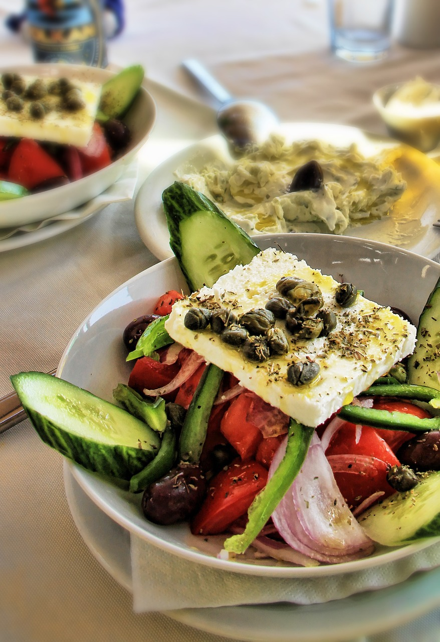 salad, greek salad, santorini