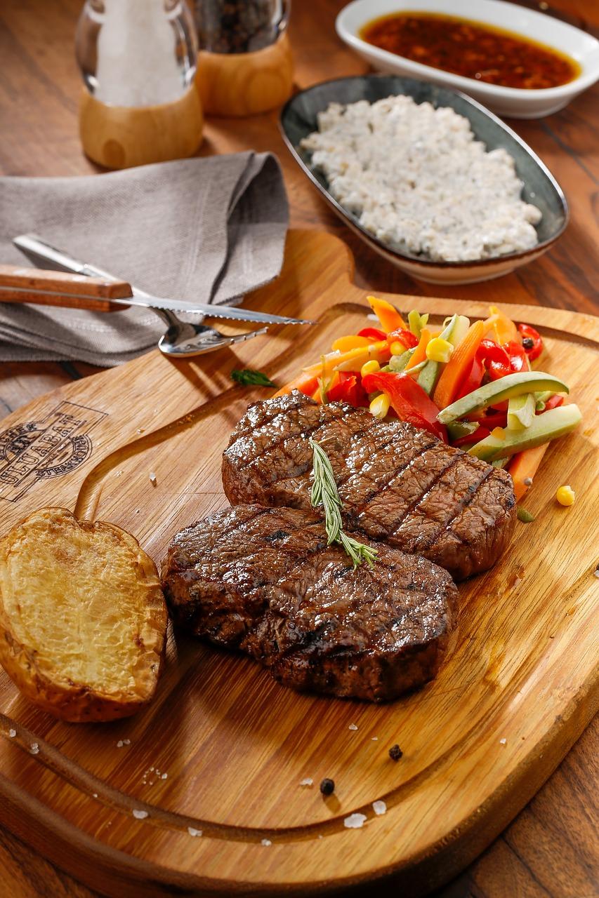 food, steak, meat